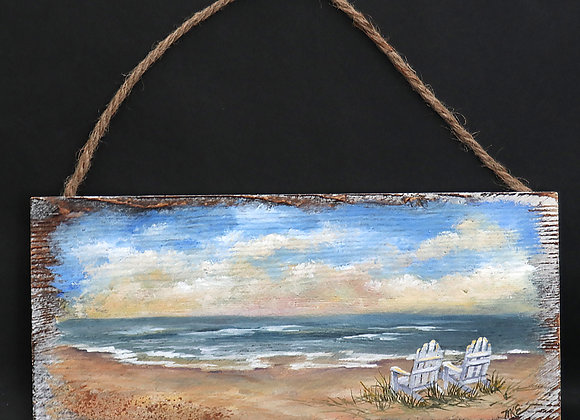 """Lets Enjoy the View"" - original oil painting on whitewashed board"