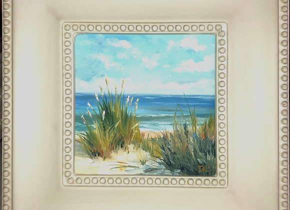 """At the Shore"" 6"" x 6"" oil on panel w/ off white frame"