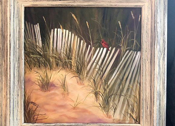 """Dune Fence Visitor ""  Oil on stretched canvas  framed"
