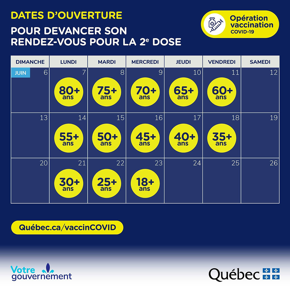 Quebec COVID-19 Vaccine 2nd dose calendar