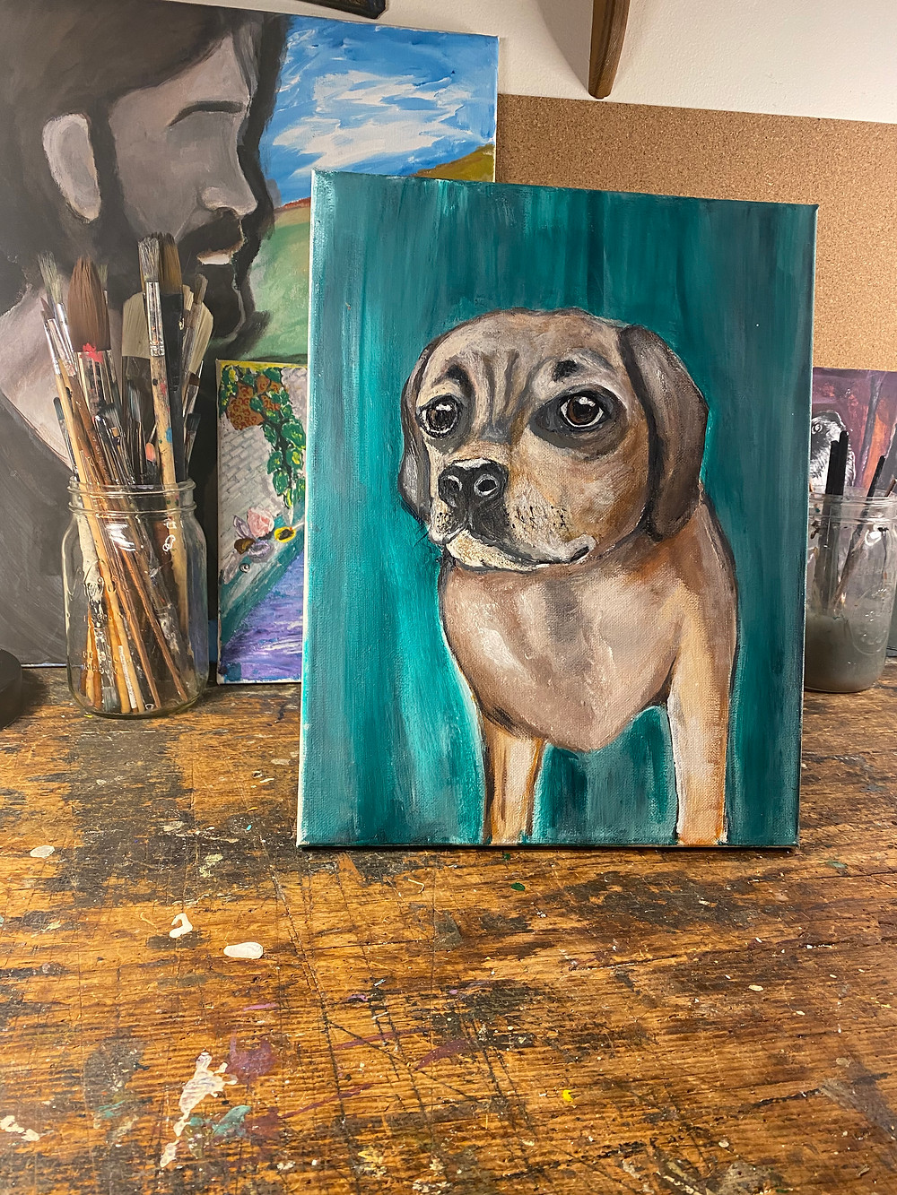 Commissioned Painting of puggle in art studio