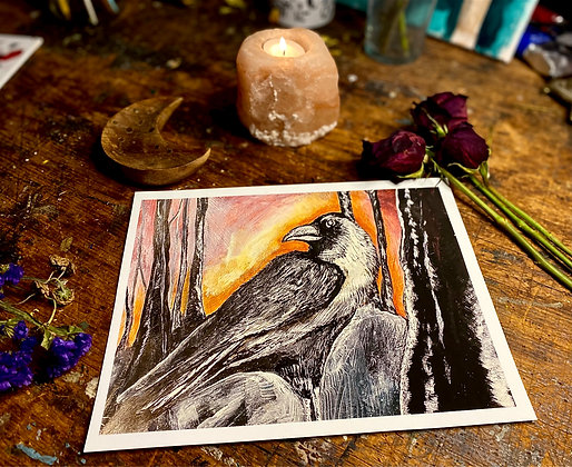 A Acrylic Crow Painting With A Candle