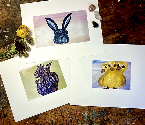Easter Paintings Of  A 3 Eyed Bunny, 3 headed Duck, hatching Dragon