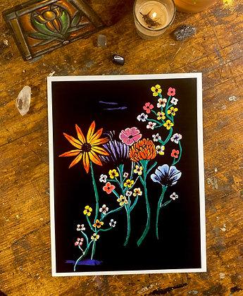 Flowers on a black background acyrlic print
