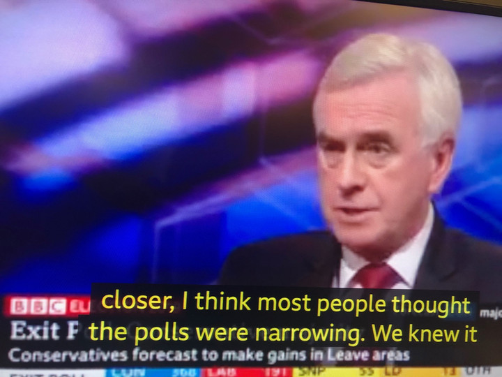 'Extremely disappointing': Labour's John McDonnell reacts to exit poll