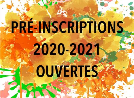 Pré-inscriptions 2020-2021