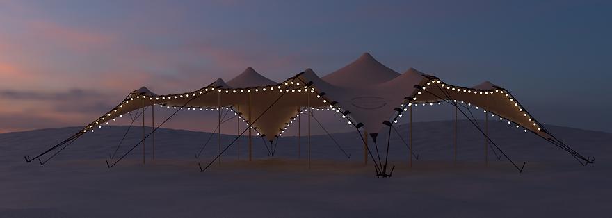 Tente stretch, toile nomade, toile tendue dans le désert
