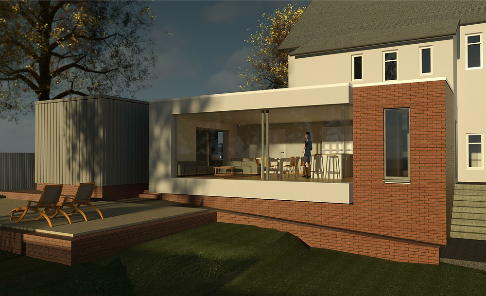 initial sketch proposals for an extension to a house in Glasgow