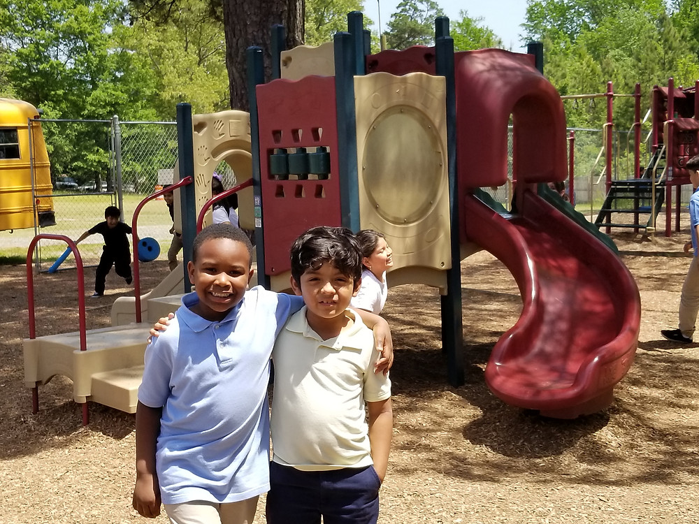 Karter and Jonathan with current playground