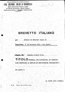 Brevetto Foderi Columbus 1973