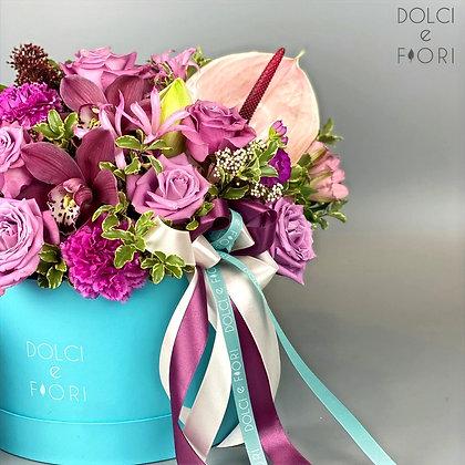 0419 шляпная коробка с цветами