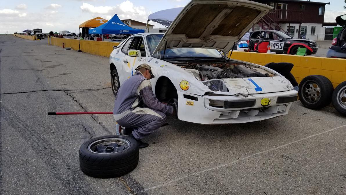 Mike prepping the Porsche