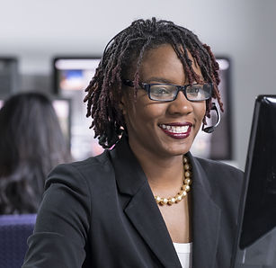 Young black female professional working