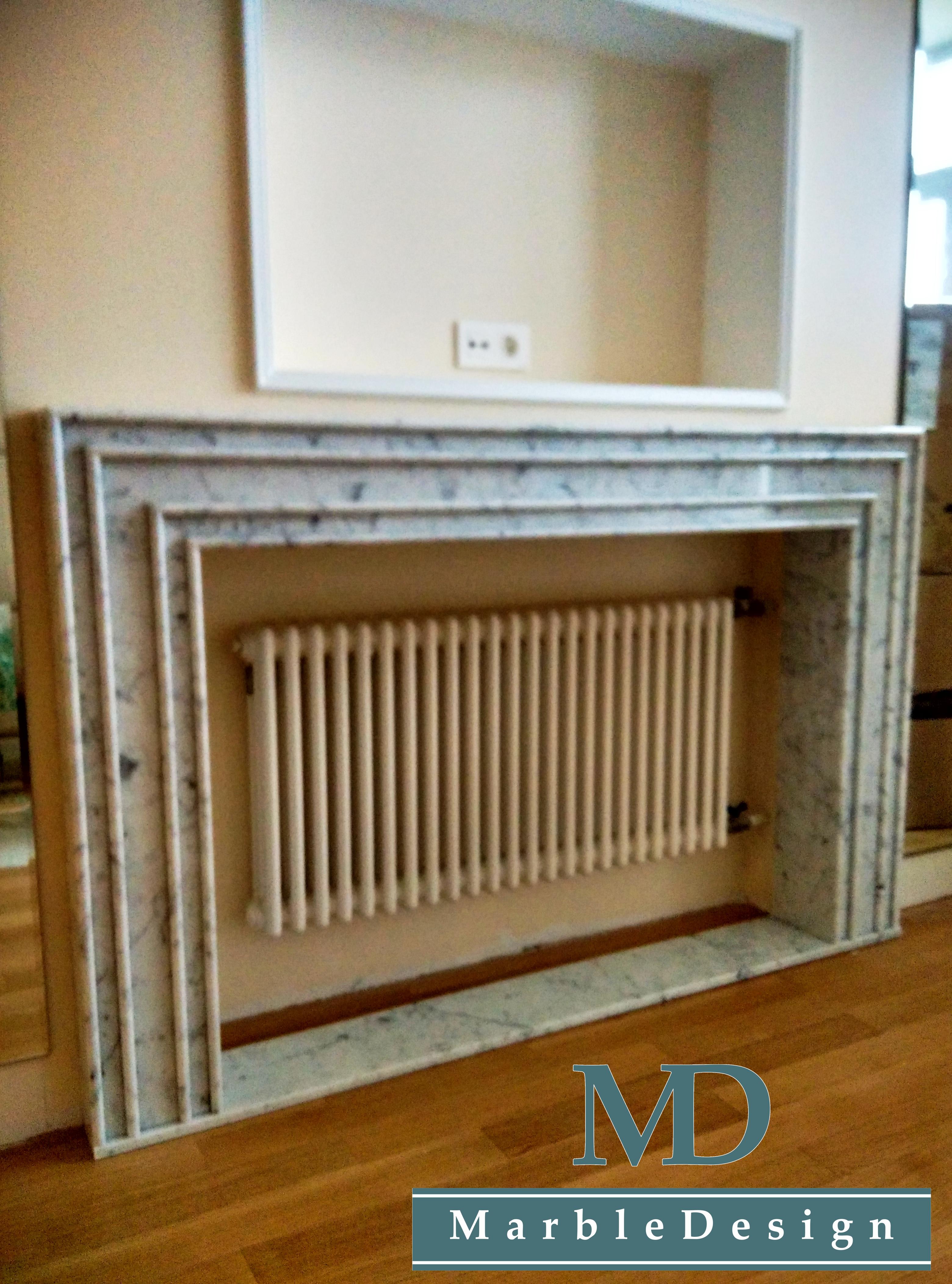 Фальш-камин - мрамор Bianco Carrara