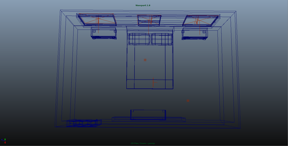 Room with 3D outlines for layout.