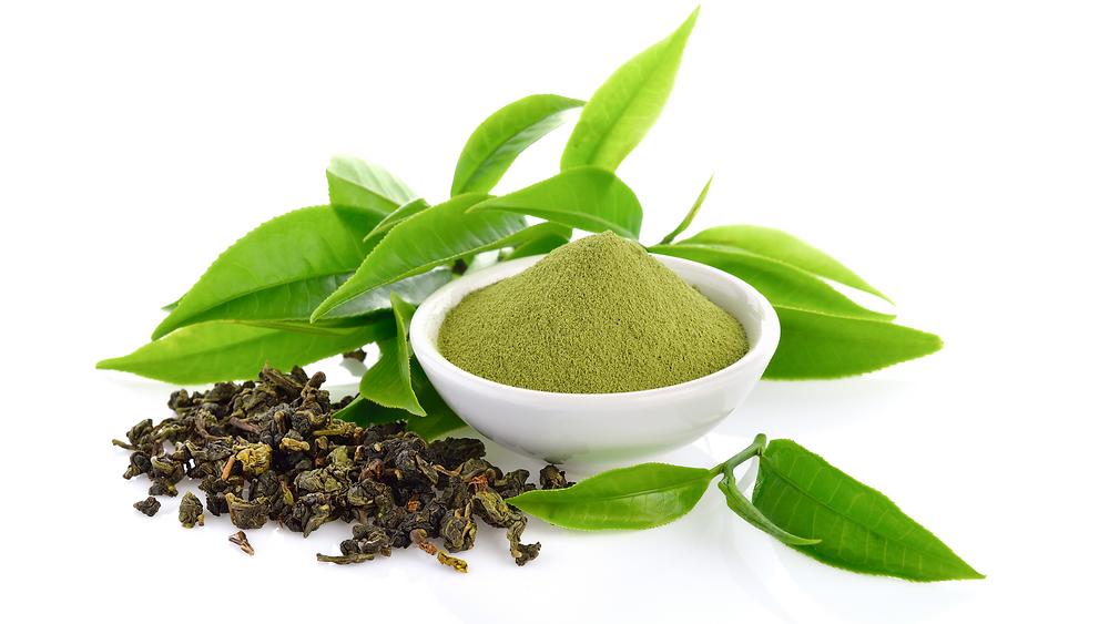 Green Tea Powder and Tea Leaves