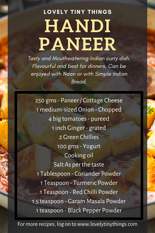 Complete list of ingredients used in Paneer Handi