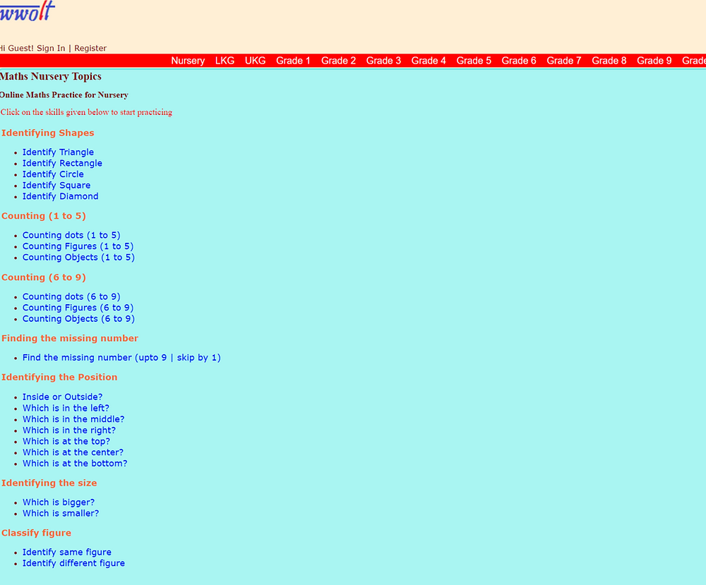 Screenshot of the WWOLT Nursery Setion page