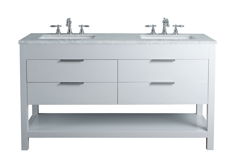 """Rochester 60"""" White Double Sink Vanity"""