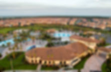 Oasis Club Clubhouse and Pool Aerial View