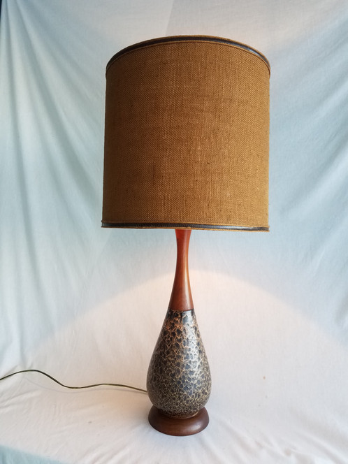 ceramic and wood table lamp with burlap shade somidcentury mid