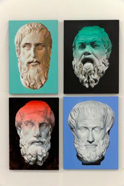 Platón, Socrates, Epicuro y Aristóteles