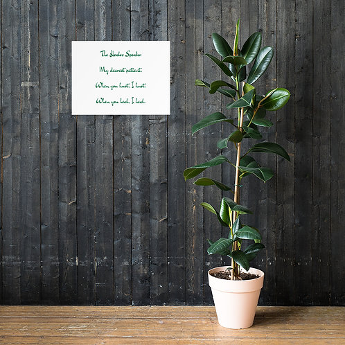 Poster: The Healer Speaks 1 GREEN