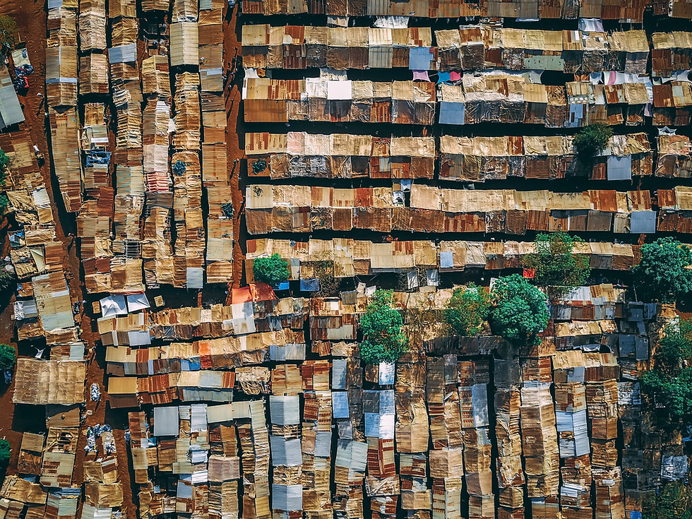drone aerial photo of an outdoor marketplace in tanzania africa near kilimanjaro