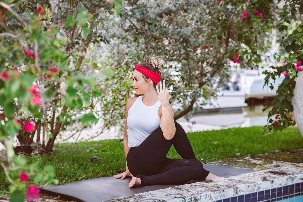 Girl doing yoga in period-proof leggings