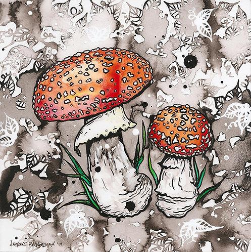 """Lauren Ringelman - Cloud Forest Mushrooms, Amanita Muscaria 8x8"""""""