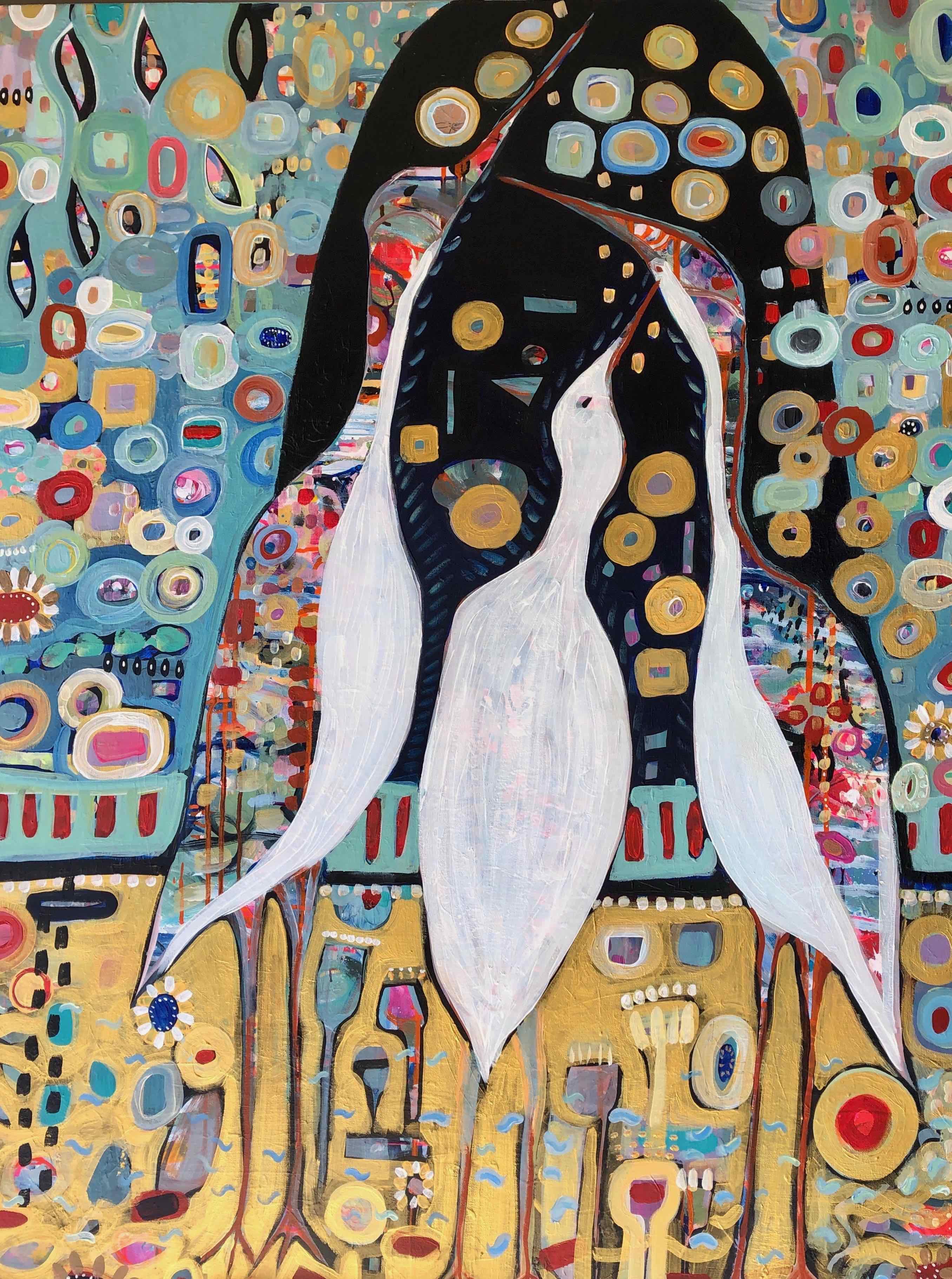 Three Cranes Wishing 36x48 - Cynthia Mor