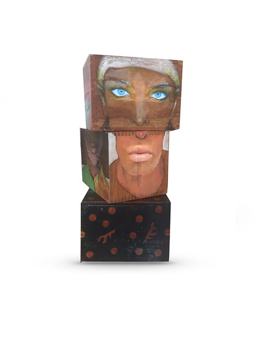 Dee Hooker - Super Rothchilds, mixed media on reclaimed cigar boxes