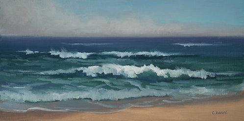 """Ellen Howard - Montara Beach Surf, 8x16"""""""