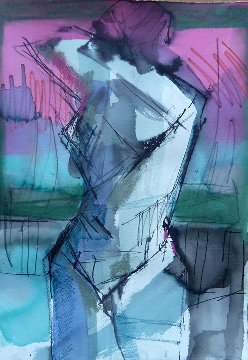 Gail Ragains - Figure in Pink and Green 01 - 11x15