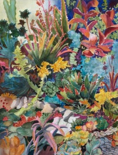 Sally Bookman - Succulent Garden IV, 24x18 inches