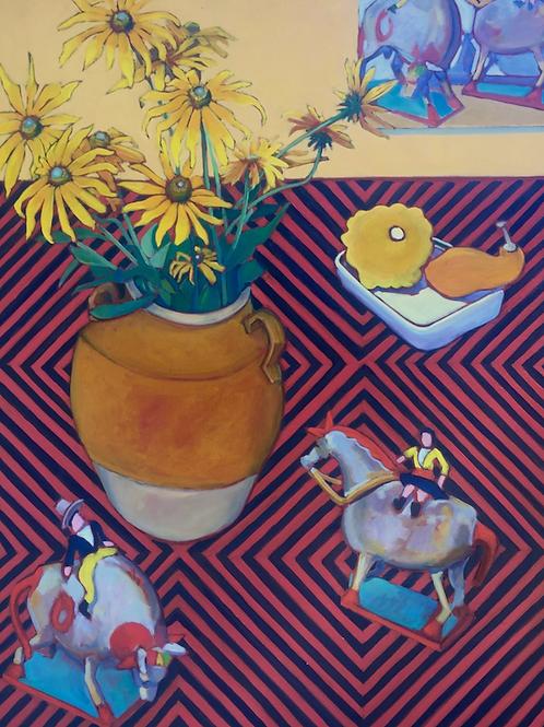 "Charles Prentiss - Sunflower Tableau, 48x36"""