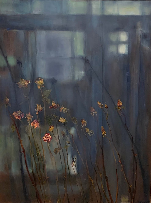 """Margaret Rinkovsky - Evening View with Roses, 48x30"""""""