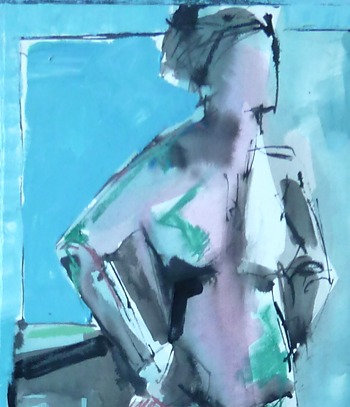 Gail Ragains - Figure Collage Blue & Pink 12x48""