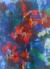 SOLD - Jane Ferguson, Poppies in Blue
