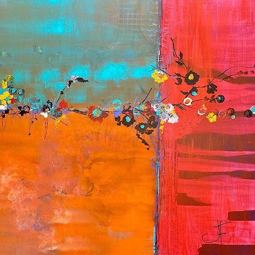 """Jane Ferguson - Broken Flowers, 40x40"""""""