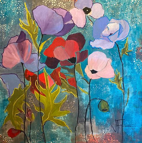 "Jane Ferguson - Pastel Poppies, 36x36"""