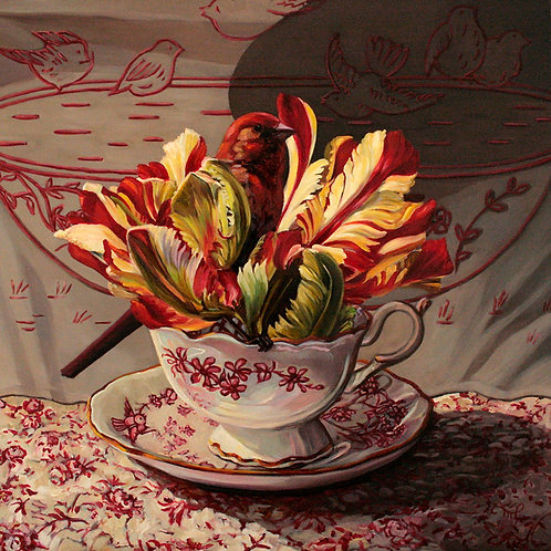 "(SOLD) Marie Cameron  - Tulip Tea I,  12x12"""