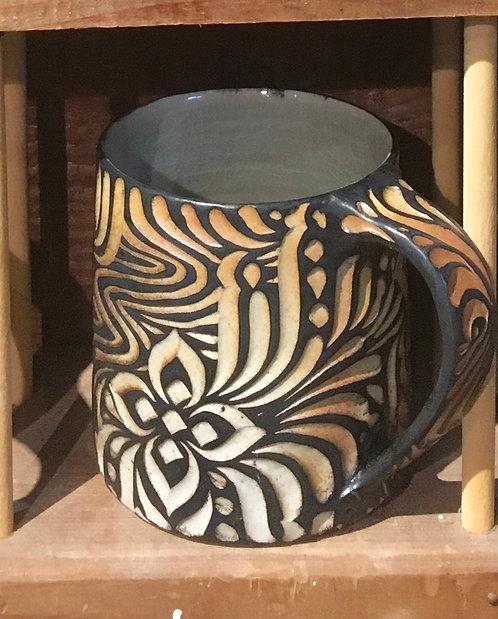 "Jasper Marino - Carved mug, 4x3x5"""