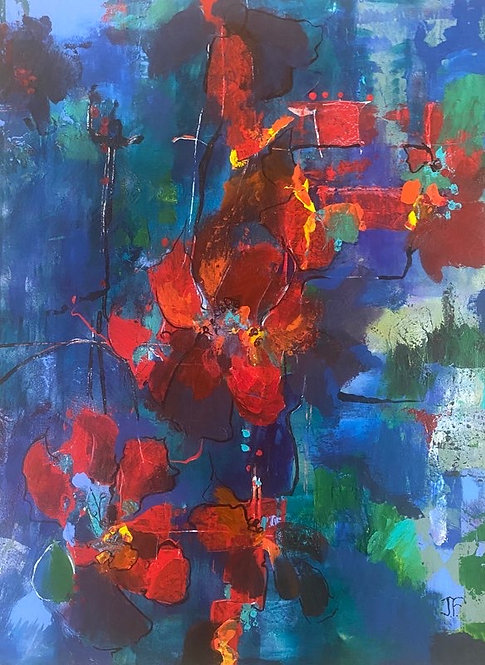(SOLD) Jane Ferguson - Poppies in Blue, 40x30""