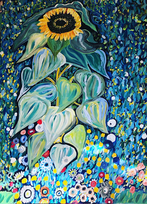 Cindy Mori - Single Sunflower 36x48""