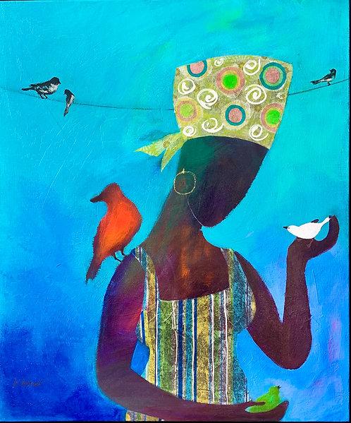 """Danielle Dufayet - Girl Loves Birds, 24x20"""", framed"""
