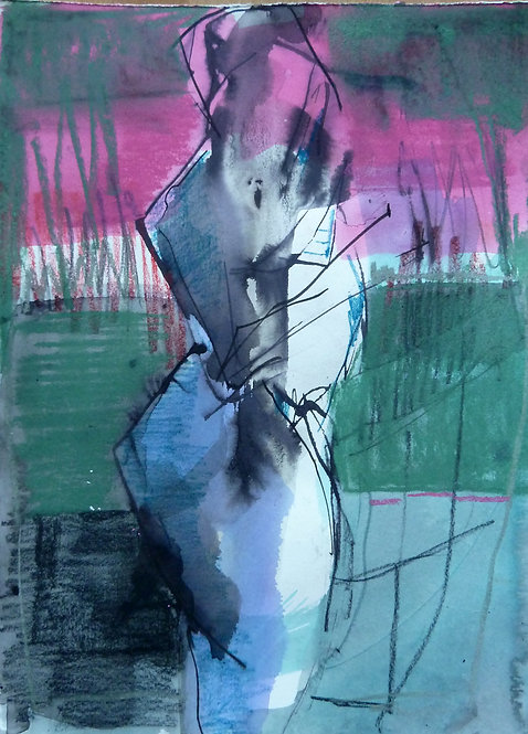 Gail Ragains - Figure in Pink and Green 02 - 11x15