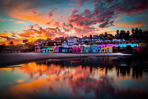 """Neil Simmons - Capitola Venetians Sunset - Framed 30x45"""""""