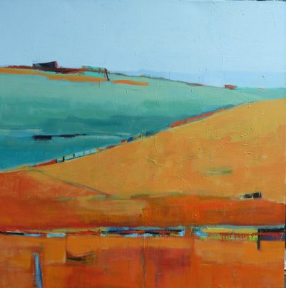 Gail Ragains - Abstract Land I 48x48""