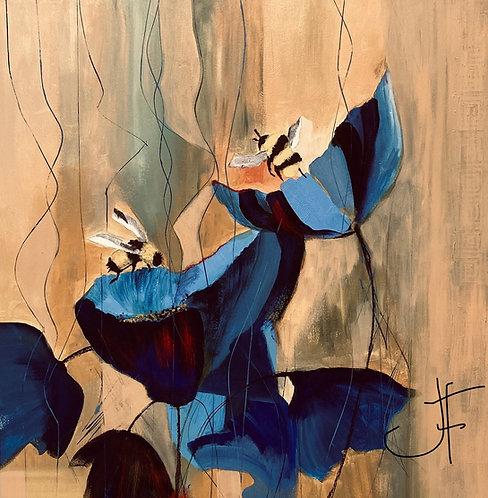 "Jane Ferguson - Bumble Bees Blue Heaven, 20x20"""